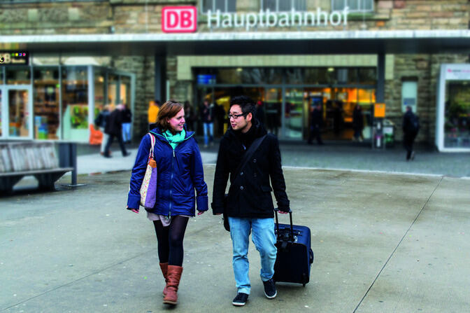 two students upon arrival at the train station