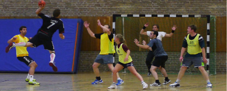handball players during a game