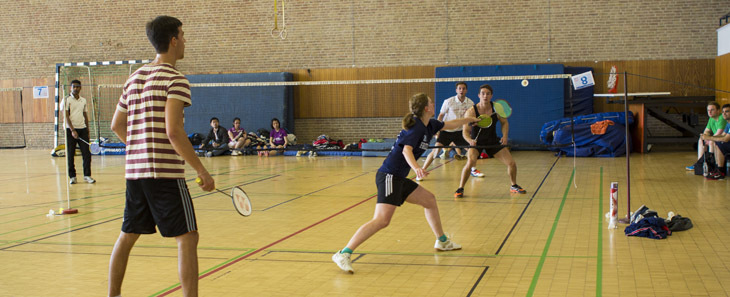Badminton players during the tournament