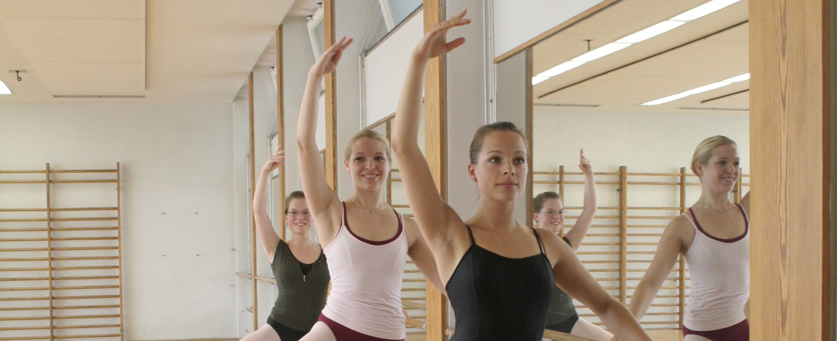 Ballet dancers at the barre