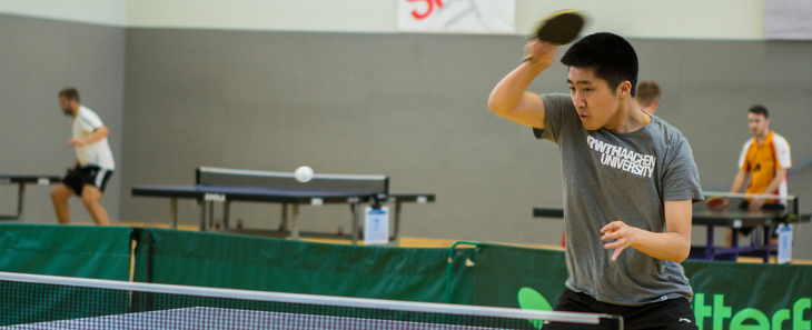 Table tennis players during the tournament