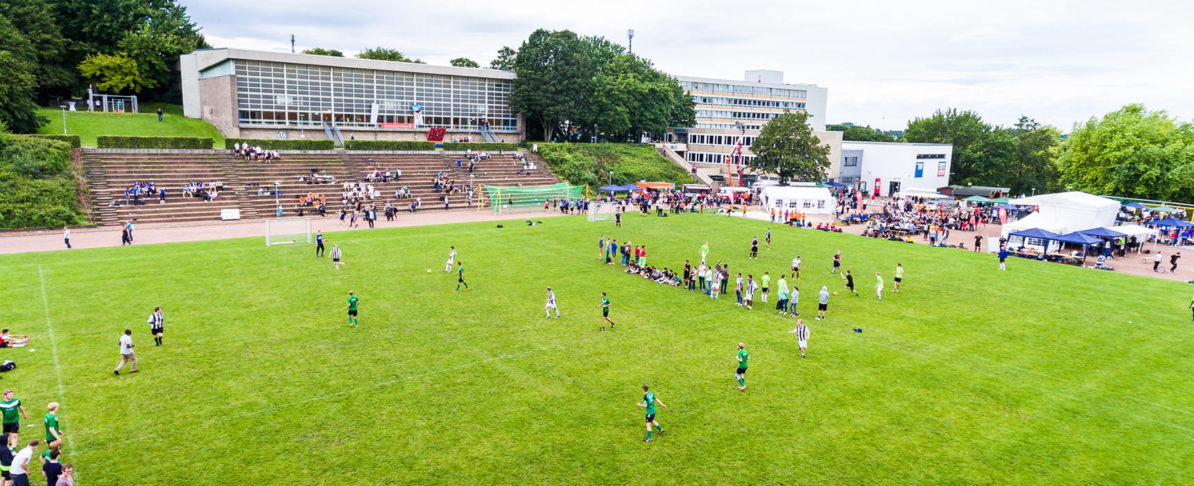 Aerial view of a soccer tournament