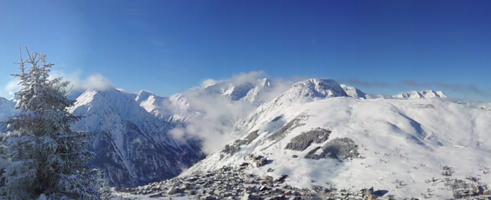 Panoramic view of snowy mountains